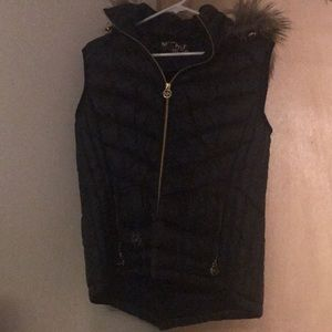 Michael Kors Black and Tan puffer vest with hood